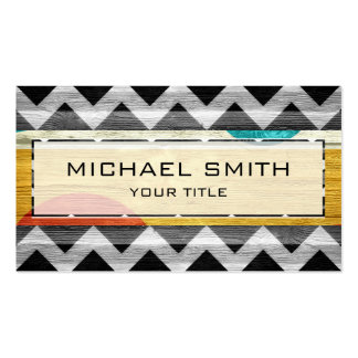 Wood Modern Aztec Chevron Pattern Business Card Template