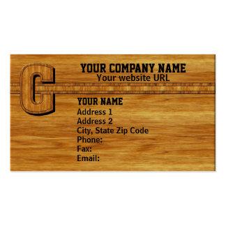 Wood Monogram C Business Card
