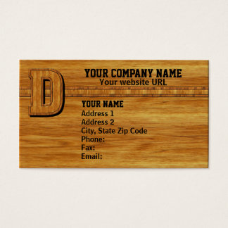 Wood Monogram D Business Card