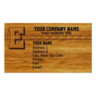 Wood Monogram E Business Card