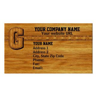 Wood Monogram G Business Card