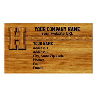 Wood Monogram H Business Card