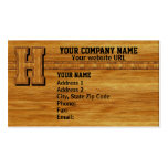 Wood Monogram H Business Cards