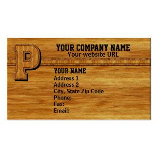 Wood Monogram P Business Card