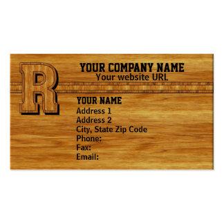 Wood Monogram R Business Card