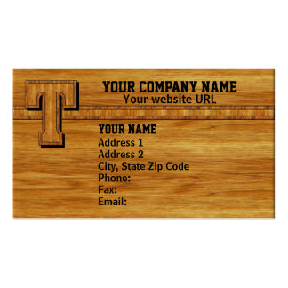 Wood Monogram T Business Card