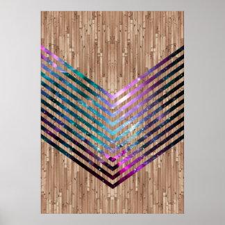 Wood nebula chevron poster