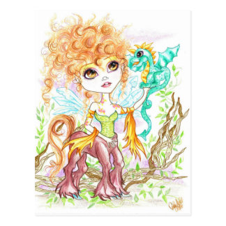 Wood Nymph and The Dragon Fantasy Art Postcard