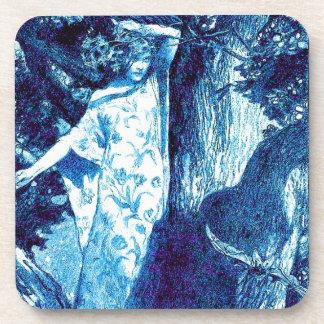 Wood Nymph - Blue/Teal Beverage Coaster