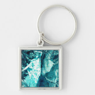 Wood Nymph - Green/Teal Silver-Colored Square Keychain