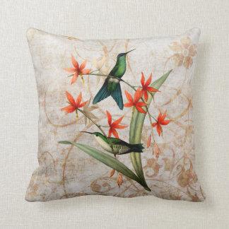 Wood Nymph Hummingbird Vintage Grunge Throw Pillow
