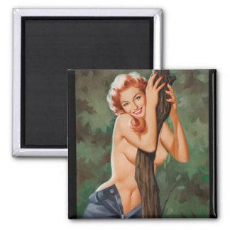 Wood Nymph Pin Up Art Magnet