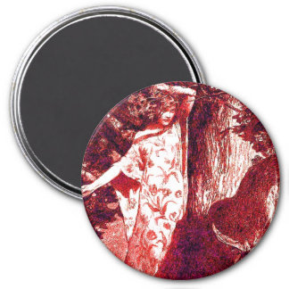 Wood Nymph - Red 3 Inch Round Magnet