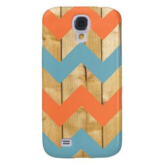Wood orange blue chevron zigzag zig zag pattern galaxy s4 covers
