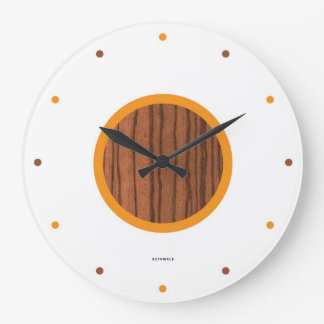 Wood & Orange Mid-Century Large Clock