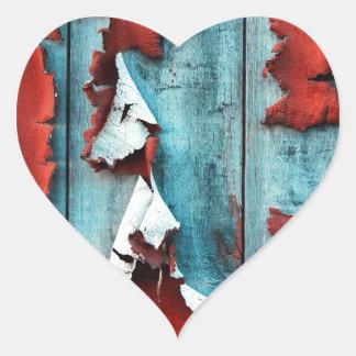Wood Paint Peeling Heart Stickers