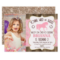 Wood Paisley Glitter Horse 3rd Birthday Invitation