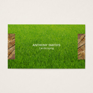 Wood Panel and Cut Grass 2 Business Card