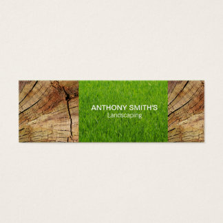 Wood Panel and Cut Grass Mini Business Card