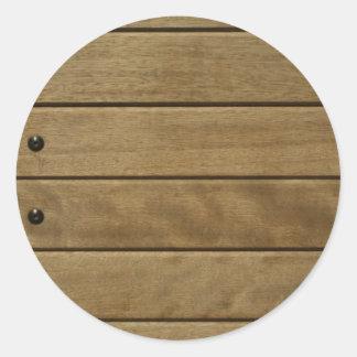 wood panel classic round sticker