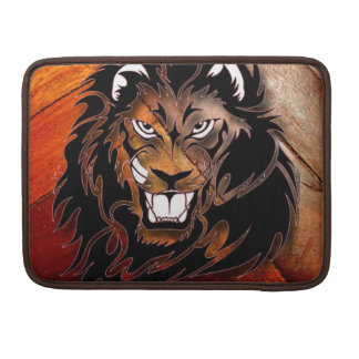 Wood Panel Look and Fearsome Lion Sleeve For MacBook Pro