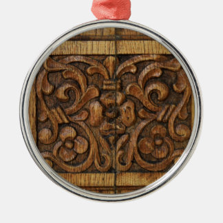 wood panel metal ornament