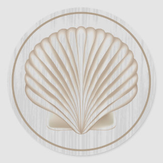 Wood Panel Sea Shell Classic Round Sticker