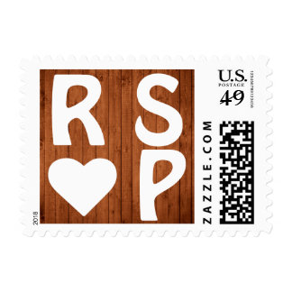 Wood Panel White Heart RSVP Postage