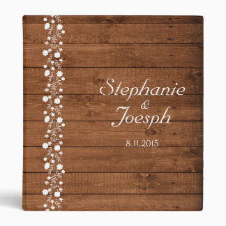 Wood Panel With White Floral Detail   Wedding 3 Ring Binders