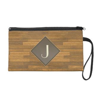 Wood Panels Wristlet Clutch Bag