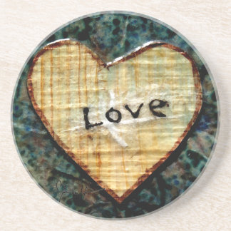 Wood Paper Heart with Love Drink Coaster
