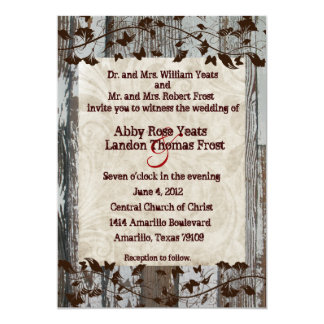 Wood Parchment Brown Floral Wedding Invitations