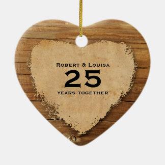 Wood Parchment Heart Love Poem Anniversary Ceramic Ornament