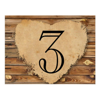 Wood Parchment Tattered Heart Table Number Postcard