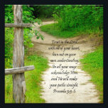 "Wood Path Proverbs 3:5-6 Bible Verse Photo Print<br><div class=""desc"">Lovely woods path with the scripture verse &quot;Trust in the Lord with all of your heart, lean not on your own understanding; in all your ways acknowledge Him and He will make your paths straight.&quot; Proverbs 3:5-6. Great gift for a pastor or art work for church wall or youth room....</div>"