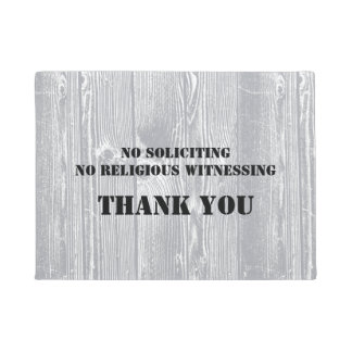 Wood Pattern NO SOLICITING Doormat