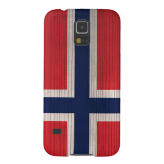 Wood Pattern with Engraved Norway Flag Case For Galaxy S5