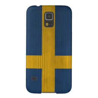 Wood Pattern with Engraved Sweden Flag Galaxy S5 Cover