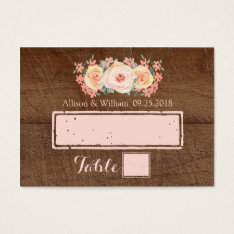 Wood Peach Pink Floral Place Setting Cards at Zazzle