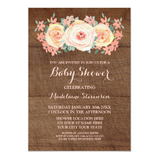 Wood Peach Watercolor Floral Baby Shower Card