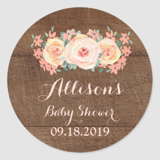Wood Peach Watercolor Floral Baby Shower Tag