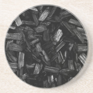 Wood pieces in black and white. drink coaster