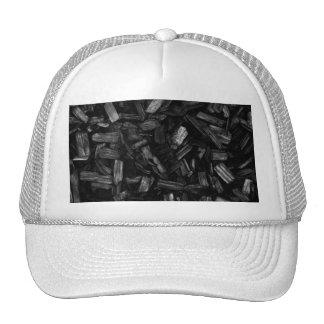 Wood pieces in black and white. trucker hat