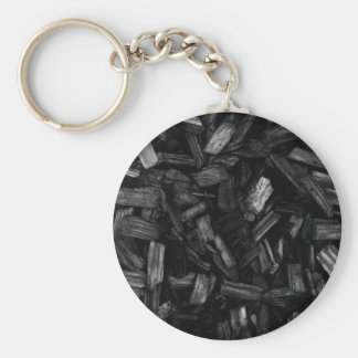 Wood pieces in black and white. keychain