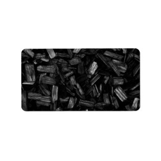 Wood pieces in black and white. label