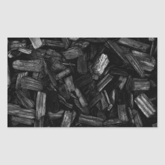 Wood pieces in black and white. rectangular sticker