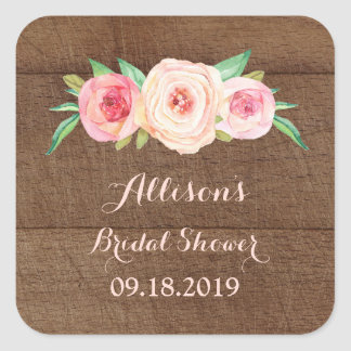 Wood Pink Blush Bridal Shower Favor Tag