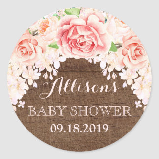 Wood Pink Watercolor Flowers Baby Shower Favor Classic Round Sticker