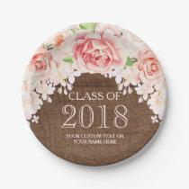 Wood Pink Watercolor Flowers Graduation 2018 Paper Plate