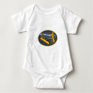 Wood Plane Forest Oval Woodcut Baby Bodysuit